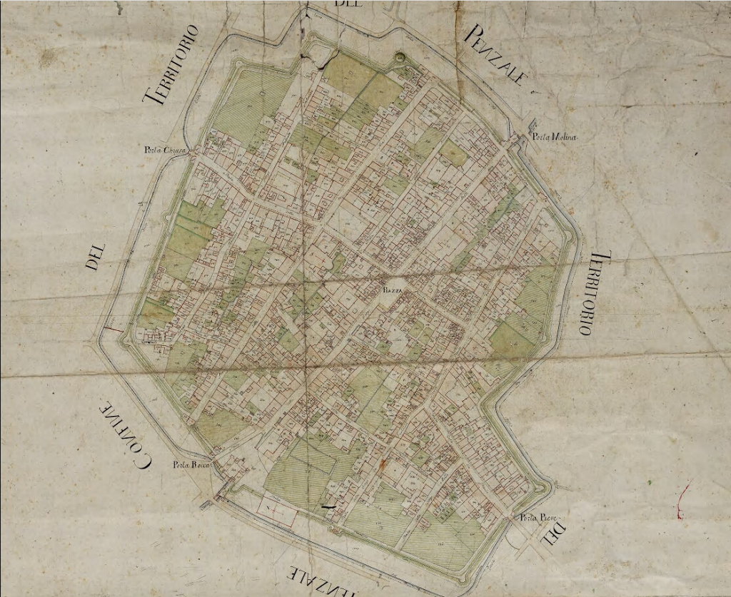 Cartina di Cento nel 1600